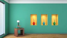 Zielony wnętrze z białymi wazami i półką Zdjęcia Stock
