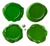 Zielony wosk pieczętuje set odizolowywającego Fotografia Royalty Free