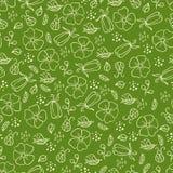 Zielony wzór z liśćmi i kwiatami Zdjęcia Stock