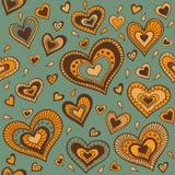 Zielony wzór z złocistymi sercami Obrazy Stock