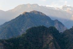 Zielony wzgórze blisko Kangchenjunga góry z chmurami nad i drzewami z światłem słonecznym które przeglądają w wieczór w Północnym Fotografia Royalty Free