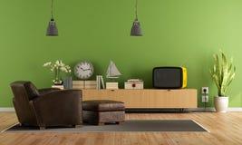Zielony Żywy pokój z retro tv ilustracja wektor