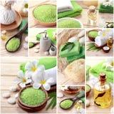 Zielony zdroju pojęcia kolaż mydła i essensials zdroju przedmioty Fotografia Royalty Free