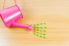 Zielony ziarno z menchia ogródu podlewania puszką Zdjęcie Stock