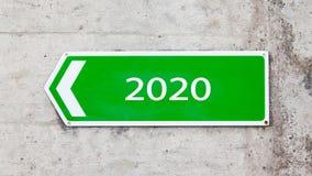 Zielony znak 2020 - nowy rok - Obraz Royalty Free