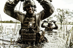 Zielonych beretów żołnierze w akci Zdjęcie Stock