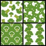 Zielonych brokułów Bezszwowi wzory Ustawiający Zdjęcia Royalty Free