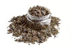 Zielonych Herbat piłek Oolong zielona herbata z lotosową zieloną herbatą z imbirową rozmaitością zielona herbata w szklanego słoj Obrazy Royalty Free