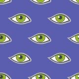 Zielonych oczu łaty wektorowy bezszwowy wzór Fotografia Stock
