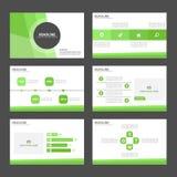 Zielonych prezentacja szablonu Infographic elementów płaski projekt ustawia dla broszurki ulotki ulotki marketingu Obrazy Royalty Free
