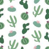 Zielonych rośliien kaktusowego peyote bezszwowy wzór na białym backgroun Obraz Stock