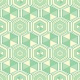 Zielonych sześciokątów geometryczny wektorowy bezszwowy wzór royalty ilustracja