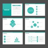 Zielonych wielobok prezentaci szablonów Infographic elementów płaski projekt ustawia dla broszurki ulotki ulotki marketingu ilustracji