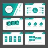 6 zielonych Wielocelowych Infographic elementów i ikony prezentaci szablonu płaskiego projekta broszurki ustalonego reklamowego m Obraz Royalty Free