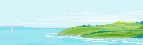 Zielonych wzgórzy nadmorski krajobrazu tło ilustracji