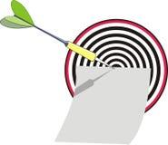 Zielpfeil und Blatt der Auflage Lizenzfreies Stockfoto