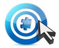 Zielpuzzlespielstück und -cursor Stockfotografie