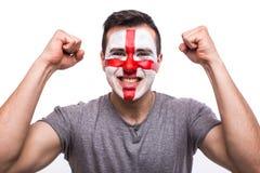 Zielschreigefühle des Engländerfußballfans in der Spielunterstützung von England-Nationalmannschaft Stockbilder