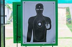 Zielschwarzschattenbild des Mannes Bestes für das übende Zielen DAS schwarze menschliche haltene Pistolenschießenziel lizenzfreie stockbilder