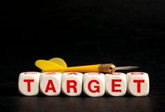 Zielwörter auf schwarzem Hintergrund Stockfotografie