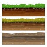 Ziemi ziemi warstwy Bezszwowego campo brudu gliny powierzchni zmielona tekstura z kamieniami i trawą wektor royalty ilustracja