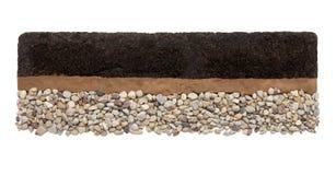Ziemi warstwy: czarnoziem, glina i kamienie odizolowywający na białym tle, zdjęcia royalty free