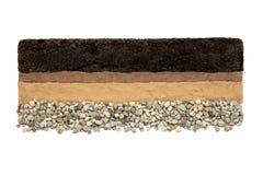 Ziemi warstwy: czarnoziem, glina, piasek i kamienie odizolowywający na białym tle, zdjęcia royalty free