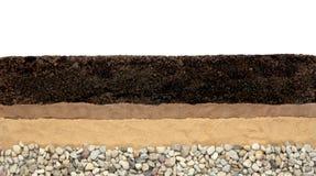 Ziemi warstwy: czarnoziem, glina, piasek i kamienie odizolowywający na białym tle, obraz royalty free