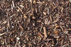 Ziemi ziemia zakrywająca z kompostowym chochołu czerepem jako tekstury tło Zdjęcia Stock
