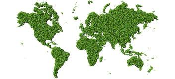Ziemia, światowa mapa robić od zieleń liści odizolowywających na czarnym tle 3 d czynią Zdjęcie Stock