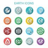 Ziemia cienia długie ikony Zdjęcie Stock