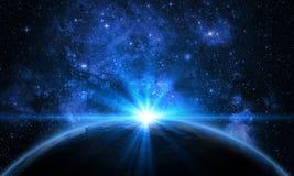 Ziemia, galaxy, mgławica i słońce, zdjęcie stock