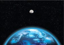 Ziemia i księżyc w przestrzeni ilustracja wektor