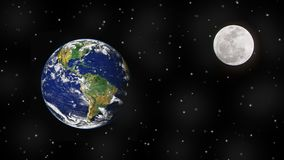 Ziemia, księżyc i gwiazdy w kosmosie, zdjęcia royalty free