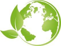 Ziemia, kula ziemska, światowa kula ziemska i liście, ziemski logo Obrazy Royalty Free