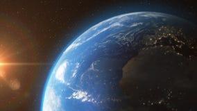 Ziemia od astronautycznego słońca światła gra główna rolę - 3D 4K animację ilustracja wektor
