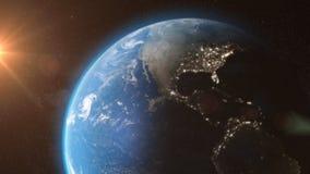 Ziemia od astronautycznego słońca światła gra główna rolę - 3D 4K animację ilustracji