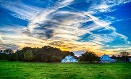 Ziemia uprawna przy zmierzchem w York południe Carolina fotografia royalty free