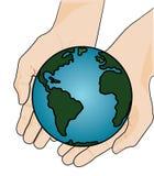 Ziemia w Dwa rękach - wektor ilustracja wektor