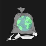Ziemia w plastikowym worku Zdjęcie Stock