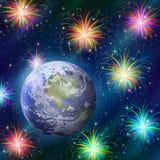 Ziemia w przestrzeni z fajerwerkami Obraz Royalty Free