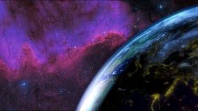 Ziemia widzieć od nieba Ostrość na przemiana dniu - noc Galaktyka w tle świadczenia 3 d Obrazy Stock