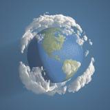 Ziemia z chmurami 3D Fotografia Royalty Free