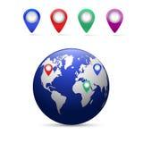 Ziemia z mapa pointerami Obrazy Stock