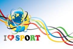 Ziemia z Olimpijskimi pierścionkami i Olimpijskimi taśmami Ilustracji