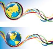 Ziemia z Olimpijskimi pierścionkami i tape.Banners.Vector Ilustracja Wektor