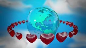 Ziemia z płodozmiennymi sercami ilustracja wektor