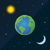 Ziemia Z słońcem I księżyc w dniu I nocy Obrazy Stock