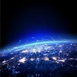 Ziemia z siatki podłączeniowym pojęciem i światło horyzontem od przestrzeni Fotografia Stock
