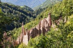 Ziemscy ostrosłupy, Renon, Południowy Tyrol, Włochy Zdjęcie Royalty Free